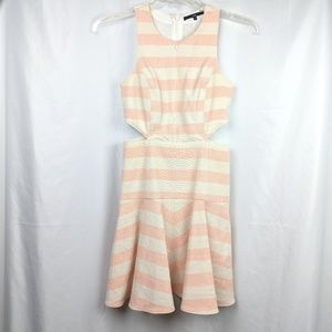 Tibi Pink and White Striped Dress w/ Side Cut Out
